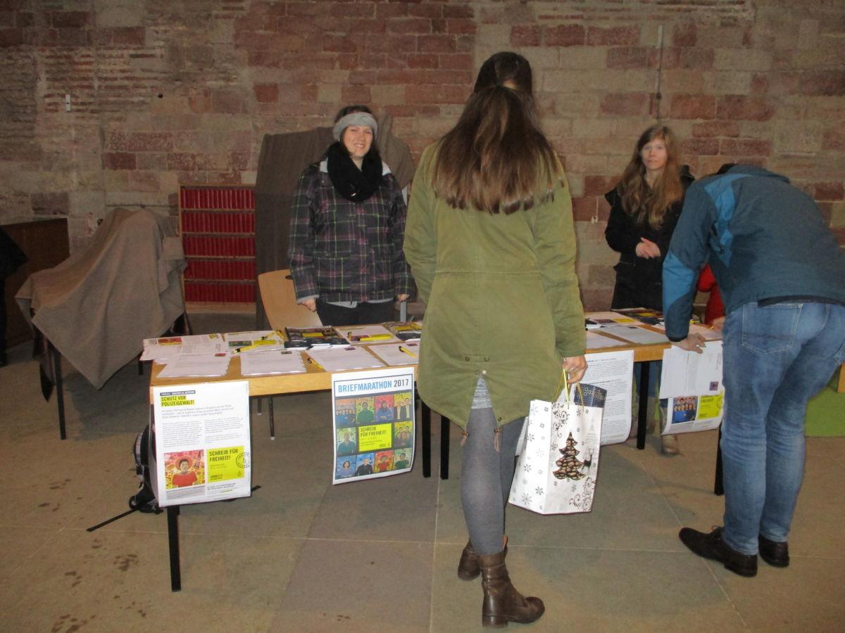 Stand zum Briefmarathon 2017 in der Basilika in Trier